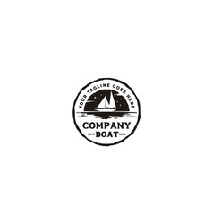 sailing boat ship silhouette vintage rustic logo vector image