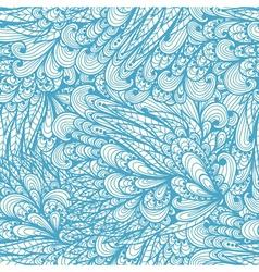 Seamless floral vintage blue doodle pattern vector image