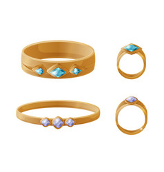 set of jewelry items golden rings with pearls vector image