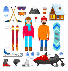 Set of winter equipment vector
