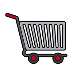 Shopping cart of side view empty supermarket e vector