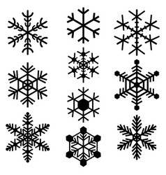 snowflakes symbols icons signs simple black set vector image