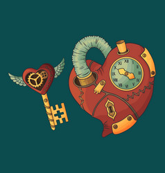 Steampunk heart and key vector