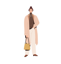 stylish modern woman in autumn fashion outfit vector image