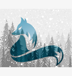 Symbol fox with winter forest vector
