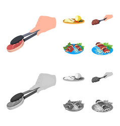Tongs with steak fried meat on a scoop slicing vector
