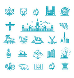Travel canada traditional objects icons vector