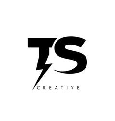 Ts letter logo design with lighting thunder bolt vector