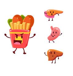 Unhealthy food danger set vector