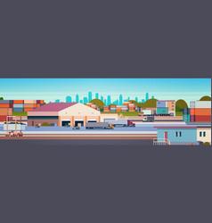 Warehouse industrial container semi trailer cargo vector