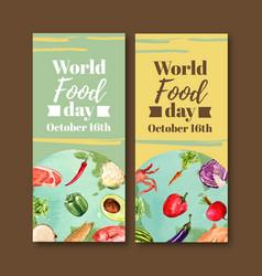 World food day flyer design with cauliflower vector