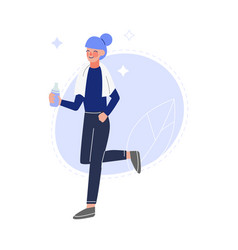 young woman doing sports and drinking fresh clean vector image