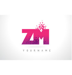 Zm z m letter logo with pink purple color and vector