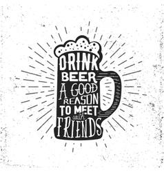 Hand drawn vintage label with beer mug sunburst vector image