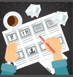 storyboarding process hand vector image