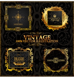 vector vintage gold frames calligraphic vector image
