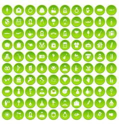 100 website icons set green circle vector image