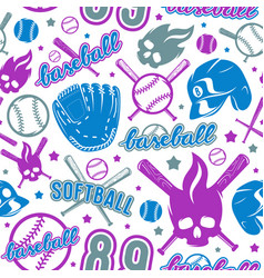 baseball and softball seamless pattern vector image