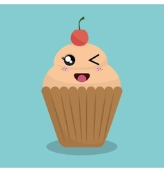 cartoon cupcake bakery design isolated vector image