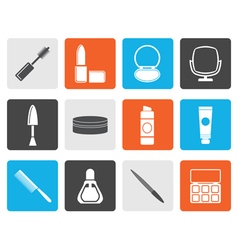 Flat cosmetic and make up icons vector image
