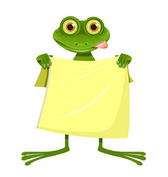 goggle-eyed frog with a yellow towel vector image vector image