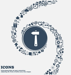 Hammer icon in the center around the many vector