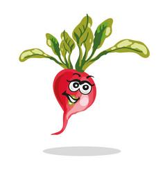 happy radish cartoon character vector image