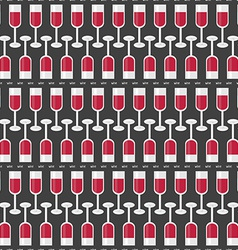 Seamless Pattern with Glasses of Red Wine and Word vector image