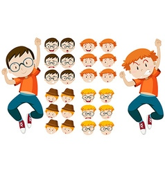 Two boys with different facial expressions vector image vector image