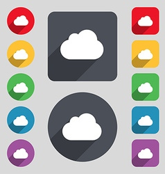 cloud icon sign A set of 12 colored buttons and a vector image vector image
