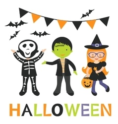 cute Halloween kids vector image