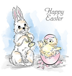 easter card with rabbit and newborn chicken vector image vector image