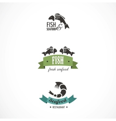 Fish icons and elements vector image vector image