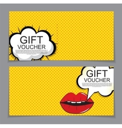Gift Voucher Template with cartoon Background vector image