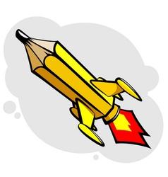 Rocket pencil vector image vector image