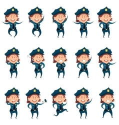 Set of police women flat icons vector image