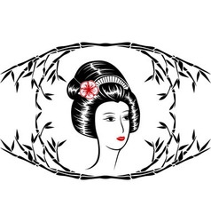 Asian beauty in a frame of bamboo vector image vector image