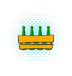 Beer wooden box icon comics style vector