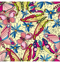 butterflies and flowers wallpaper vector image