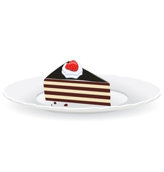 cake slice on a plate vector image