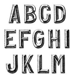 hand draw sketch alphabet design vector image