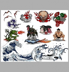 japanese tattoo elements vector image vector image