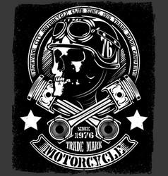 vintage biker skull with crossed piston emblem vector image