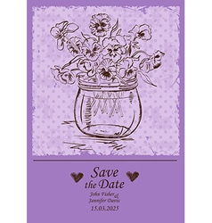 Wedding invitation with mason jar and pansy vector image