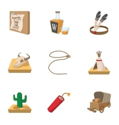 Wild west icons set cartoon style vector