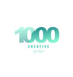 1000 green pastel gradient number numeral digit vector