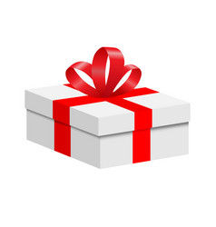 a box with a red ribbon and a bow vector image