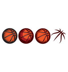 a set color basketballs with different designs vector image