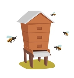 Apiary honey bee house vector