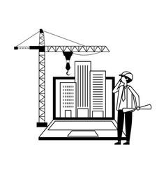 architect with blueprints laptop buildings crane vector image